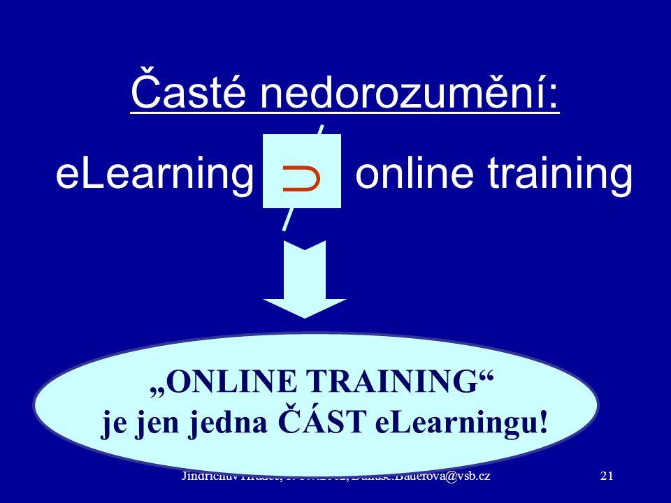"""Jindřichův Hradec, 1.-3.7.2002, Danuse.Bauerova@vsb.cz21 Časté nedorozumění: eLearning = online training """"ONLINE TRAINING je jen jedna ČÁST eLearningu."""