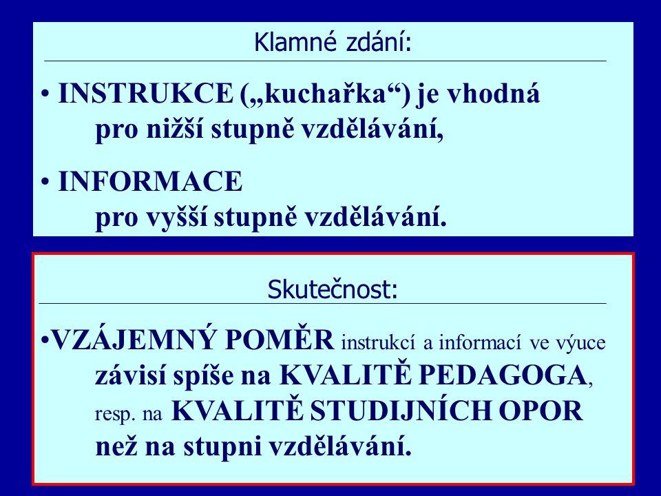 """Jindřichův Hradec, 1.-3.7.2002, Danuse.Bauerova@vsb.cz24 Klamné zdání: INSTRUKCE (""""kuchařka ) je vhodná pro nižší stupně vzdělávání, INFORMACE pro vyšší stupně vzdělávání."""