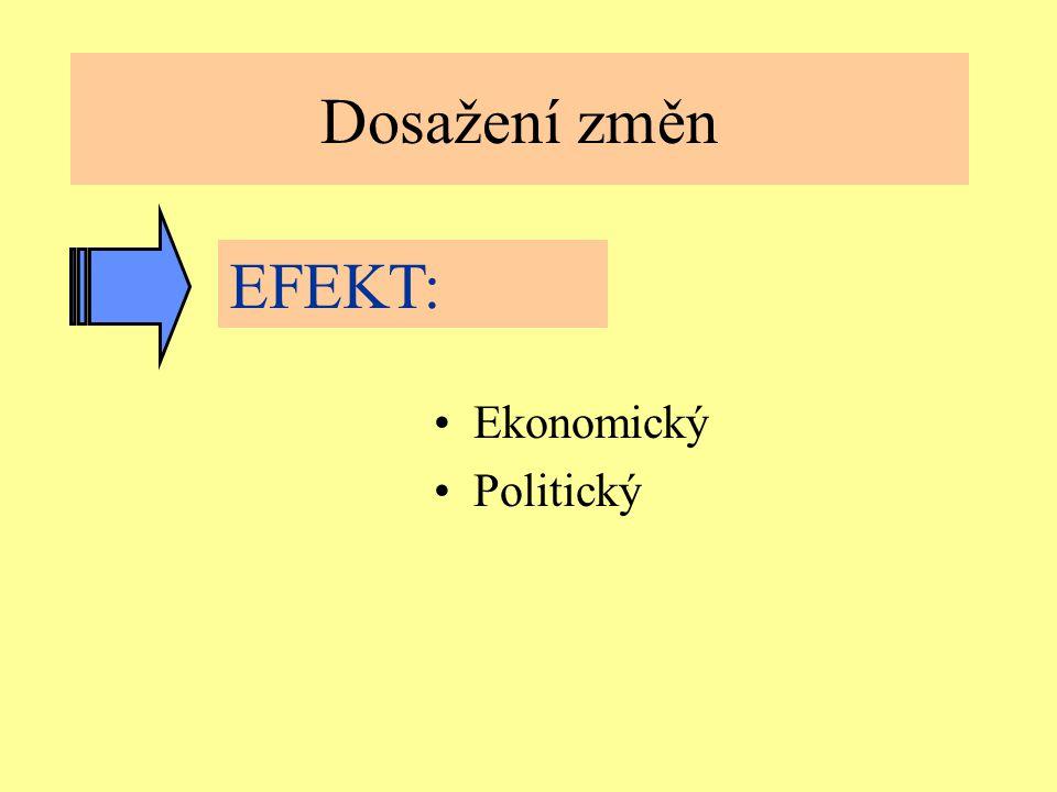 Jindřichův Hradec, 1.-3.7.2002, Danuse.Bauerova@vsb.cz7 Dosažení změn Ekonomický Politický EFEKT: