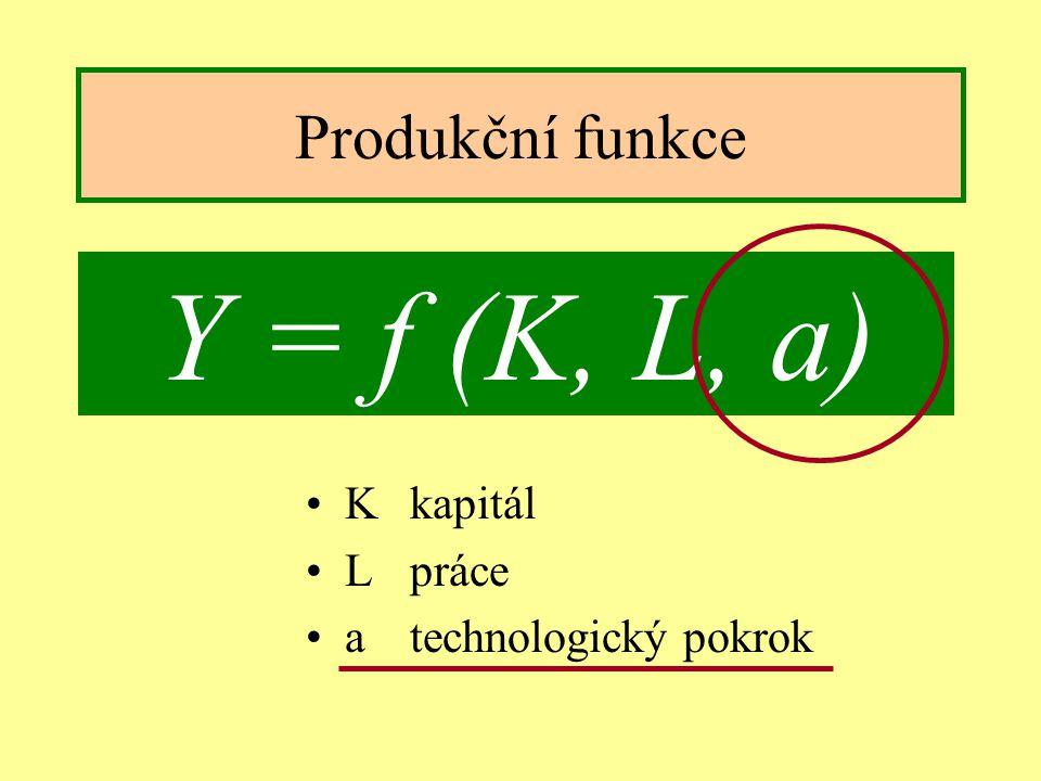 Jindřichův Hradec, 1.-3.7.2002, Danuse.Bauerova@vsb.cz9 Produkční funkce Kkapitál Lpráce atechnologický pokrok Y = f (K, L, a)