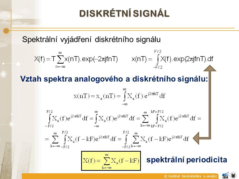 © Institut biostatistiky a analýz Vztah spektra analogového a diskrétního signálu: DISKRÉTNÍ SIGNÁL Spektrální vyjádření diskrétního signálu spektráln
