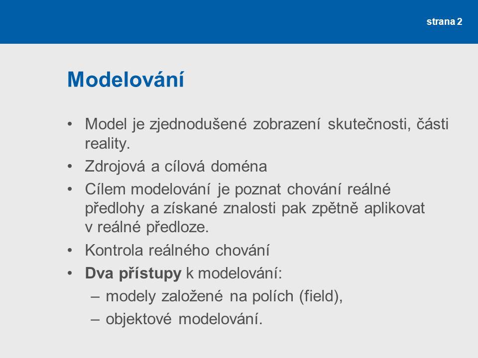 strana 2 Modelování Model je zjednodušené zobrazení skutečnosti, části reality. Zdrojová a cílová doména Cílem modelování je poznat chování reálné pře