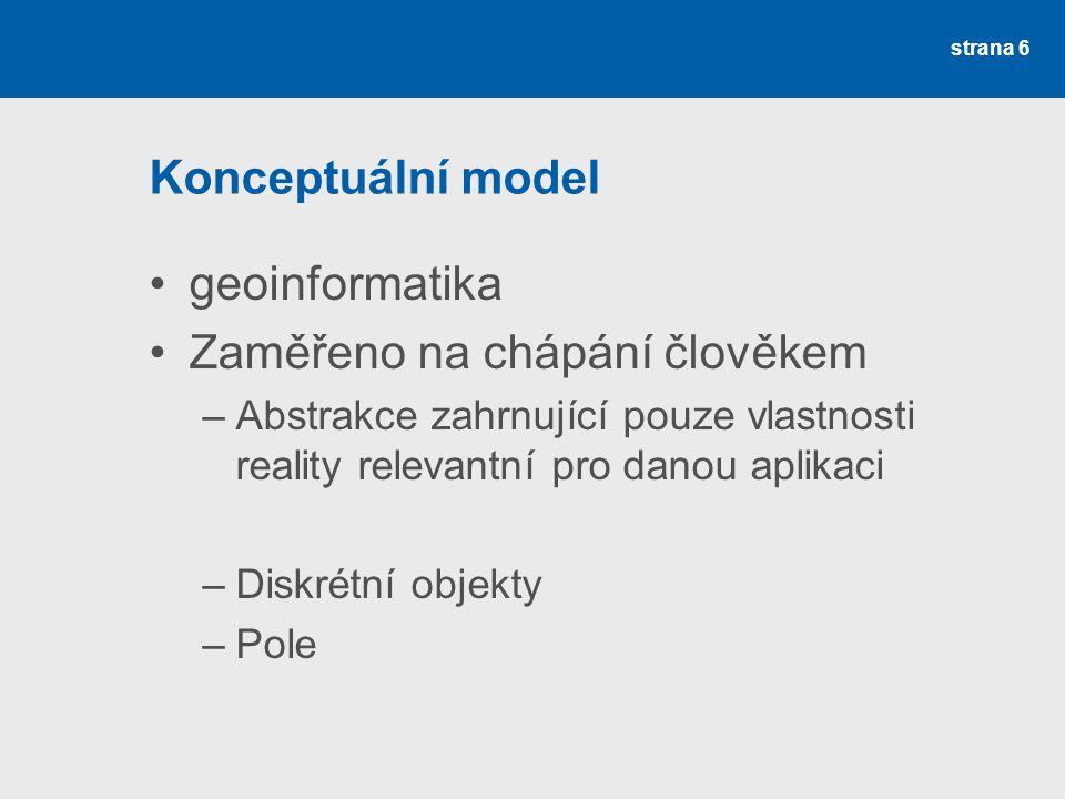 Konceptuální model geoinformatika Zaměřeno na chápání člověkem –Abstrakce zahrnující pouze vlastnosti reality relevantní pro danou aplikaci –Diskrétní