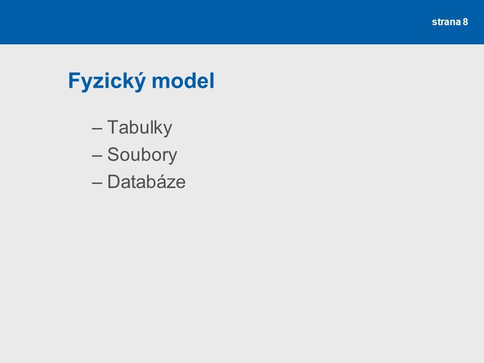 Fyzický model –Tabulky –Soubory –Databáze strana 8