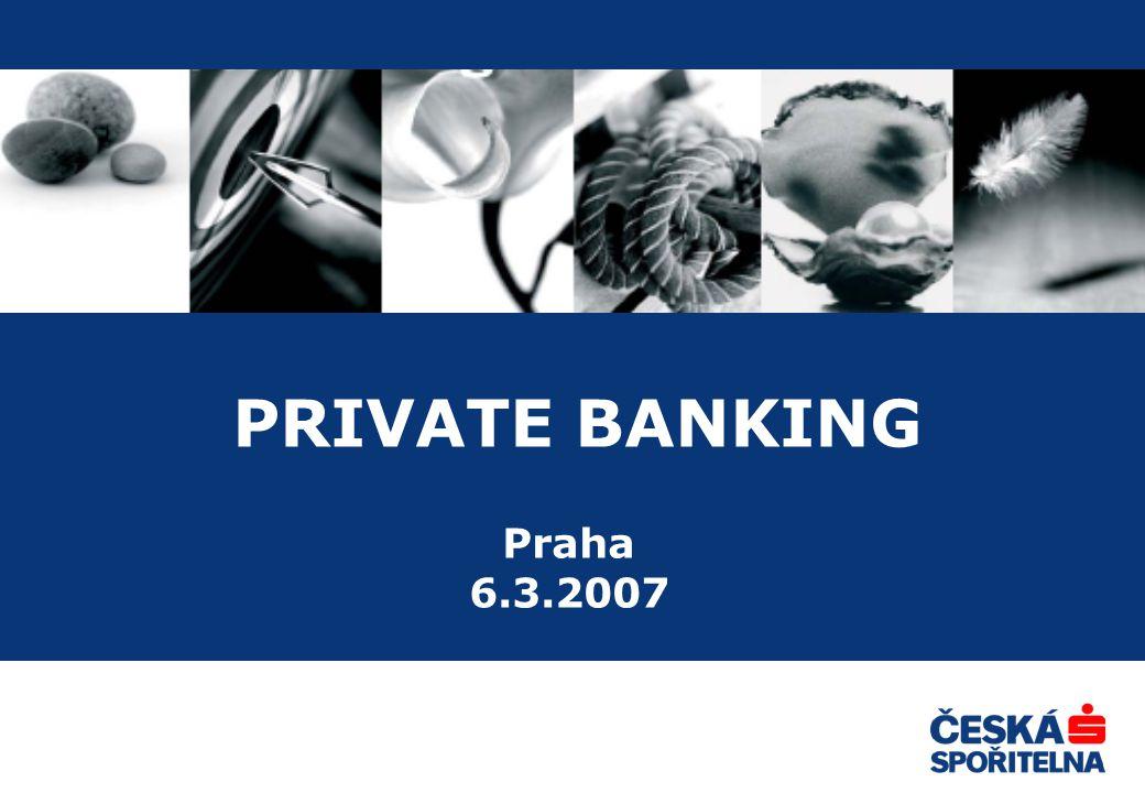 2 Private Banking Profesionální a komplexní péči o klienta Širokou nabídku finančních a investičních produktů počínaje dlouhodobými investicemi přes sestavení efektivního finančního portfolia až po produkty na míru Aktivní finanční poradenství se zaměřením na investiční bankovnictví a dlouhodobou správu majetku klienta Diskrétní a bezpečné prostředí pro klienta Dlouhodobý vztah s klientem a vzájemnou důvěru mezi privátním bankéřem a klientem Private Banking představuje