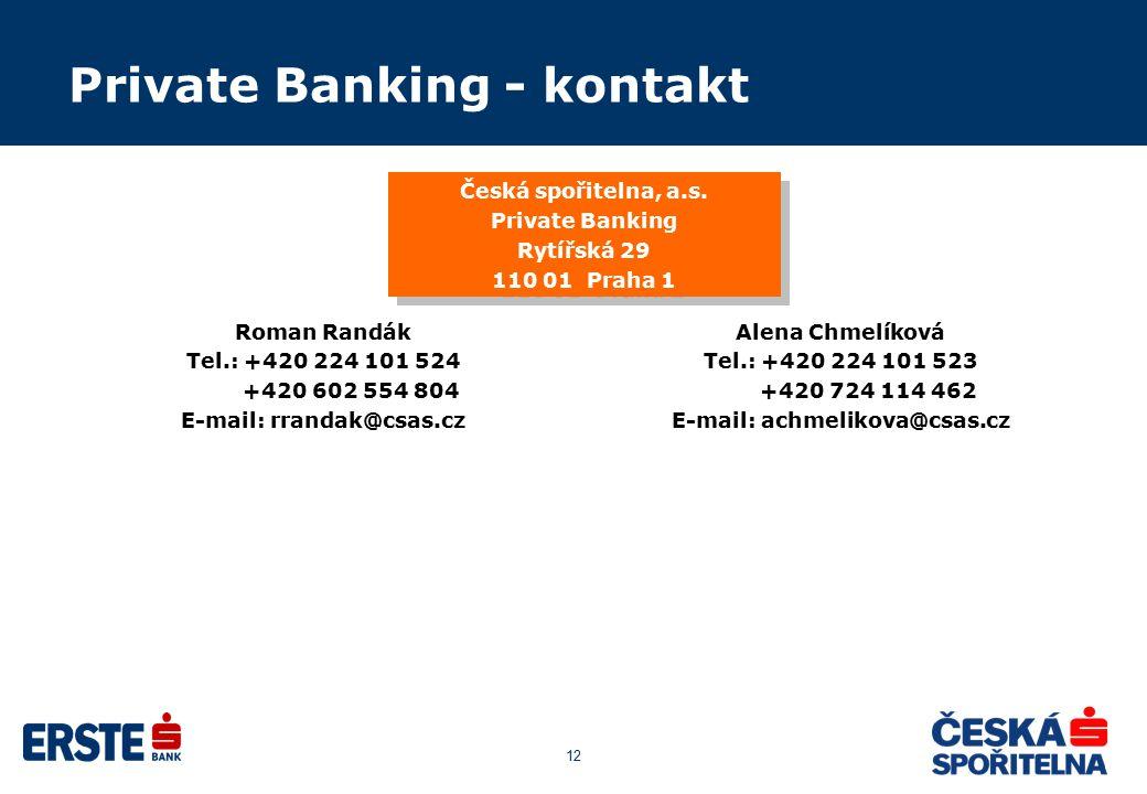 12 Private Banking - kontakt Alena Chmelíková Tel.: +420 224 101 523 +420 724 114 462 E-mail: achmelikova@csas.cz Roman Randák Tel.: +420 224 101 524