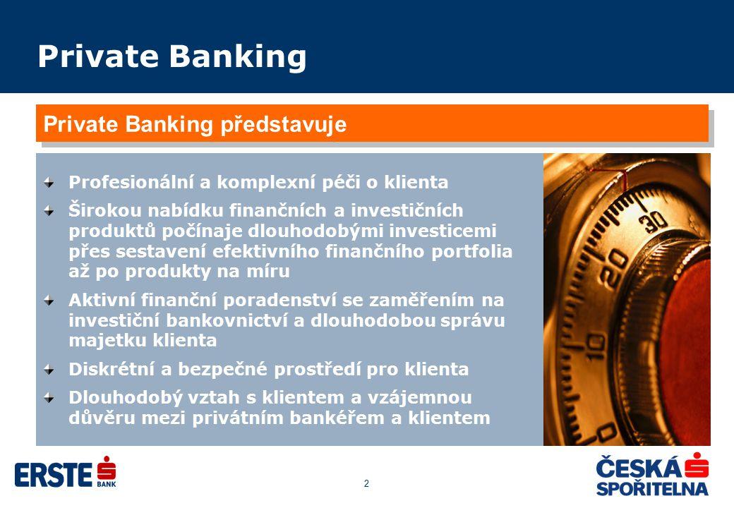 2 Private Banking Profesionální a komplexní péči o klienta Širokou nabídku finančních a investičních produktů počínaje dlouhodobými investicemi přes s