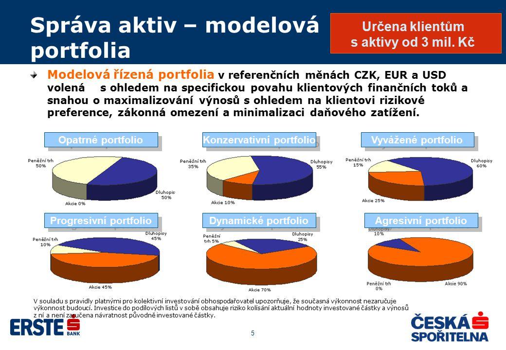 5 Správa aktiv – modelová portfolia Modelová řízená portfolia v referenčních měnách CZK, EUR a USD volená s ohledem na specifickou povahu klientových