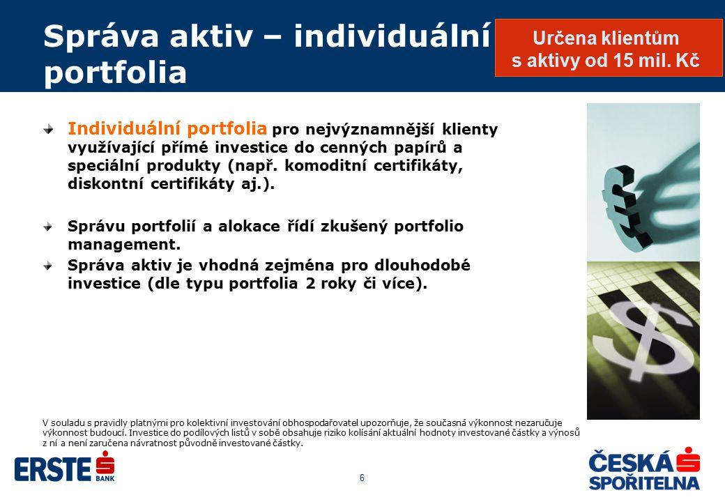 6 Správa aktiv – individuální portfolia Individuální portfolia pro nejvýznamnější klienty využívající přímé investice do cenných papírů a speciální pr
