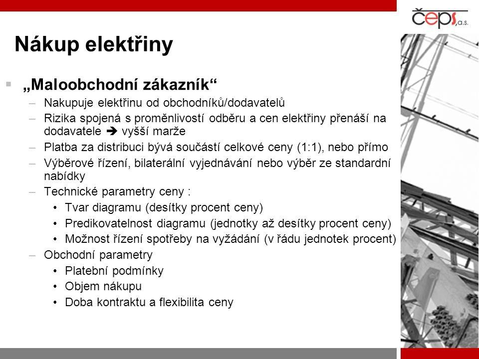 """Nákup elektřiny  """"Maloobchodní zákazník –Nakupuje elektřinu od obchodníků/dodavatelů –Rizika spojená s proměnlivostí odběru a cen elektřiny přenáší na dodavatele  vyšší marže –Platba za distribuci bývá součástí celkové ceny (1:1), nebo přímo –Výběrové řízení, bilaterální vyjednávání nebo výběr ze standardní nabídky –Technické parametry ceny : Tvar diagramu (desítky procent ceny) Predikovatelnost diagramu (jednotky až desítky procent ceny) Možnost řízení spotřeby na vyžádání (v řádu jednotek procent) –Obchodní parametry Platební podmínky Objem nákupu Doba kontraktu a flexibilita ceny"""