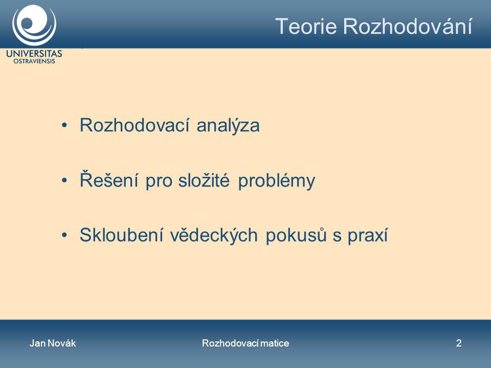 Jan NovákRozhodovací matice3 Objekt rozhodování Subjekt rozhodování Cíl Varianty Kritéria výběru Důsledky Proces rozhodování