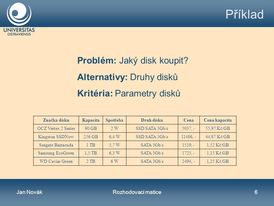 Jan NovákRozhodovací matice6 Příklad Značka diskuKapacitaSpotřebaDruh diskuCenaCena/kapacita OCZ Vertex 2 Series90 GB2 WSSD SATA 3Gb/s5037, -55,97 Kč/