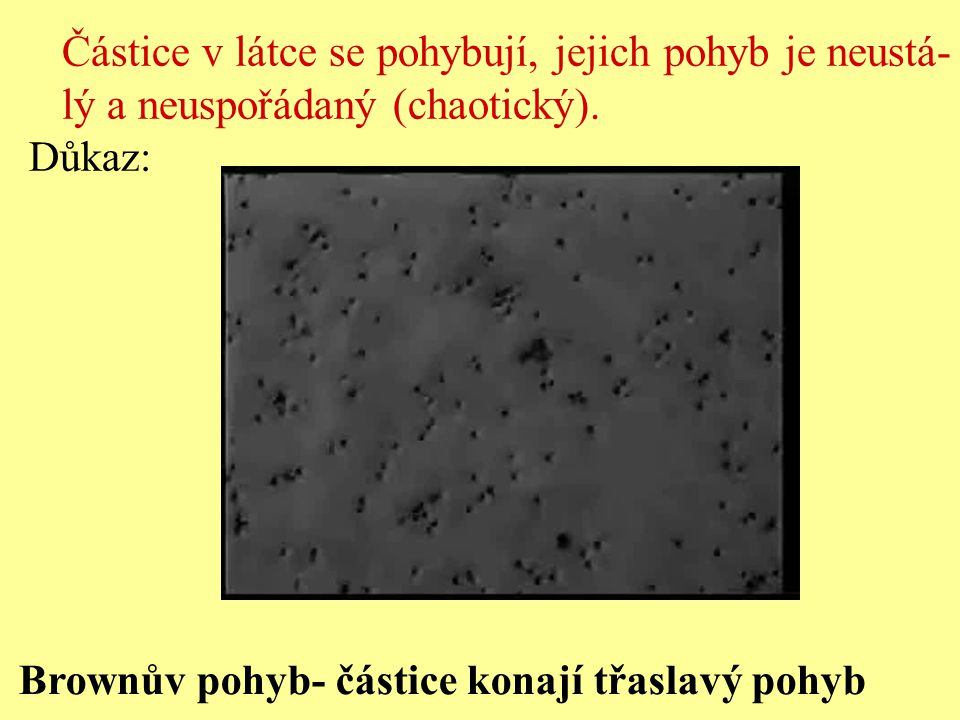 Brownův pohyb- částice konají třaslavý pohyb Částice v látce se pohybují, jejich pohyb je neustá- lý a neuspořádaný (chaotický). Důkaz: