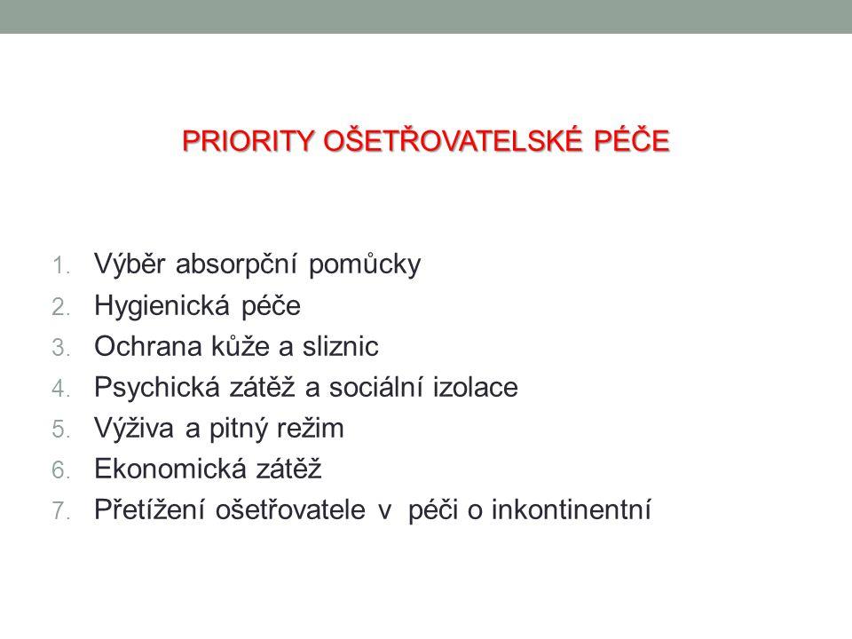 PRIORITY OŠETŘOVATELSKÉ PÉČE 1. Výběr absorpční pomůcky 2. Hygienická péče 3. Ochrana kůže a sliznic 4. Psychická zátěž a sociální izolace 5. Výživa a