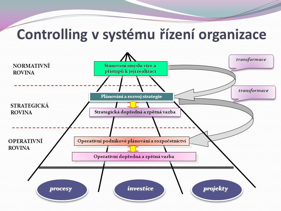 Stanovení smyslu vize a přístupů k její realizaci Plánování a rozvoj strategie Strategická dopředná a zpětná vazba Operativní podnikové plánování a ro