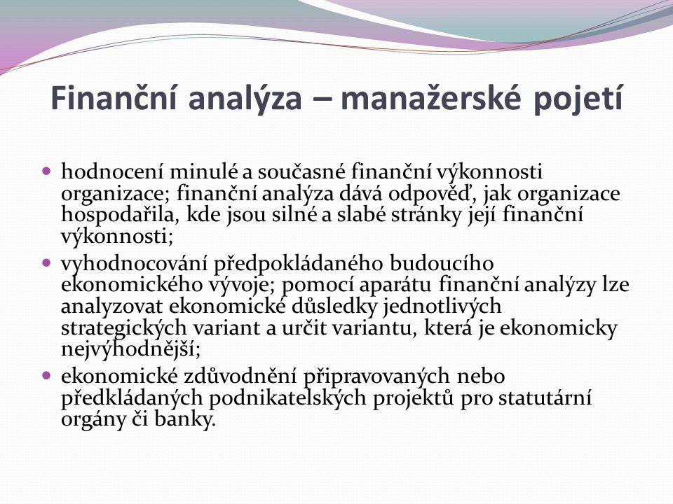 Finanční analýza – manažerské pojetí hodnocení minulé a současné finanční výkonnosti organizace; finanční analýza dává odpověď, jak organizace hospoda