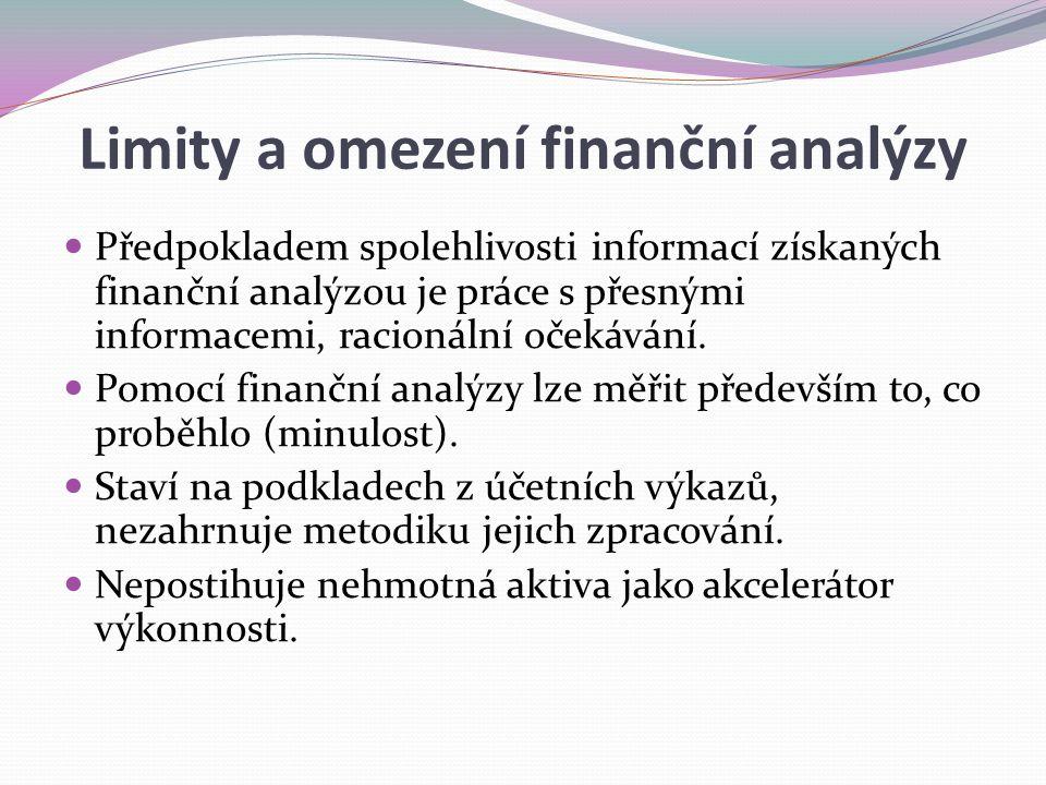 Limity a omezení finanční analýzy Předpokladem spolehlivosti informací získaných finanční analýzou je práce s přesnými informacemi, racionální očekává