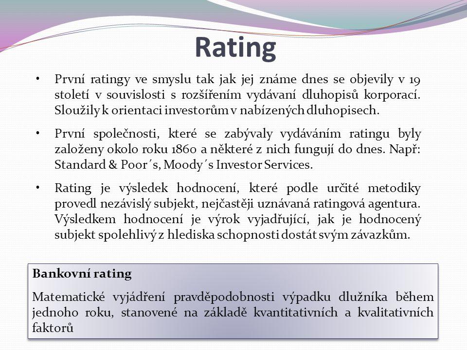 První ratingy ve smyslu tak jak jej známe dnes se objevily v 19 století v souvislosti s rozšířením vydávaní dluhopisů korporací. Sloužily k orientaci