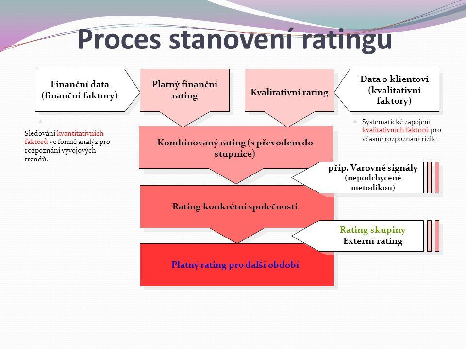 Finanční data (finanční faktory) Data o klientovi (kvalitativní faktory) Platný finanční rating Kvalitativní rating Kombinovaný rating (s převodem do