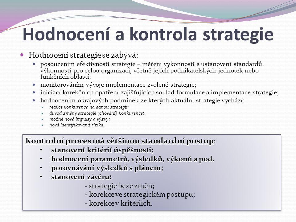 Hodnocení a kontrola strategie Hodnocení strategie se zabývá: posouzením efektivnosti strategie – měření výkonnosti a ustanovení standardů výkonnosti