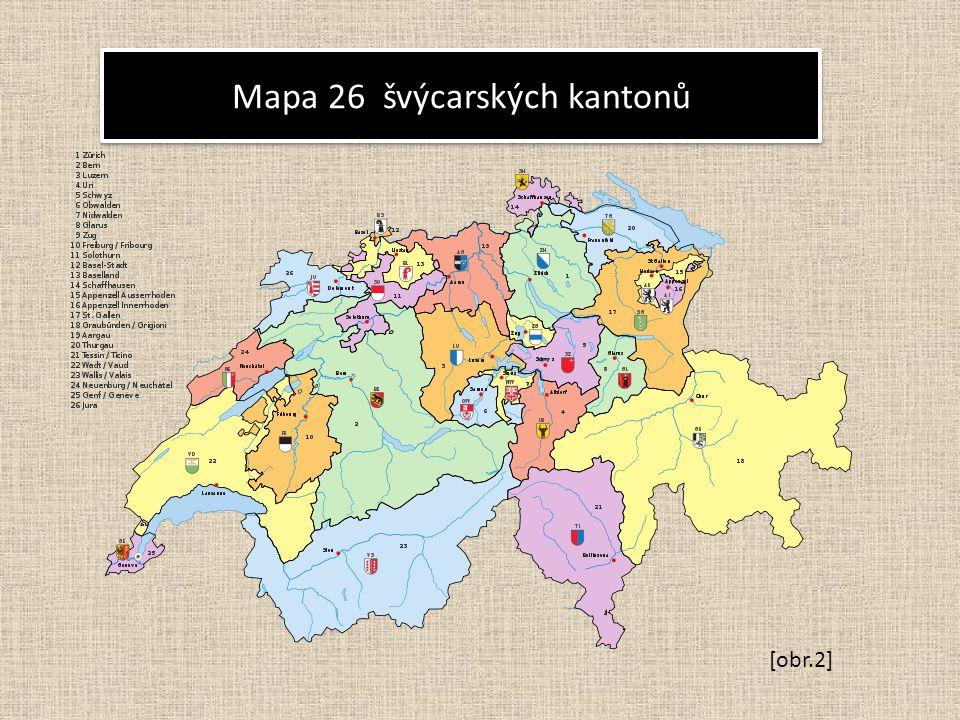 Mapa 26 švýcarských kantonů [obr.2]