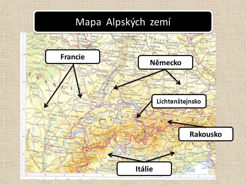 Itálie Rakousko Francie Německo Lichtenštejnsko Mapa Alpských zemí