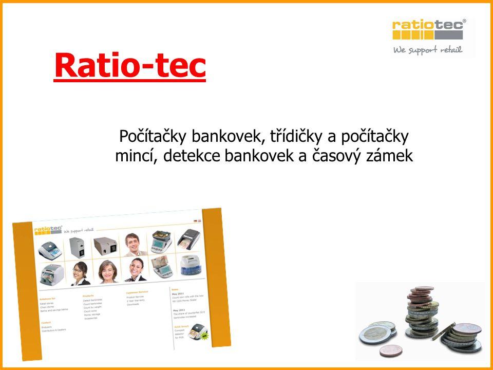 Ratio-tec Počítačky bankovek, třídičky a počítačky mincí, detekce bankovek a časový zámek