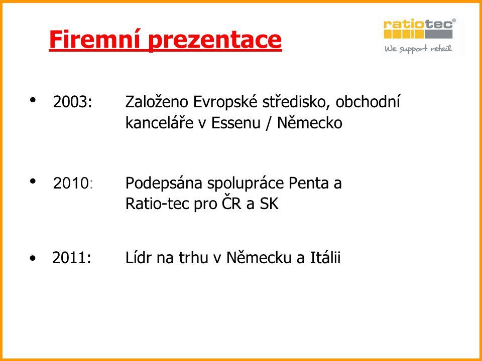 2003: Založeno Evropské středisko, obchodní kanceláře v Essenu / Německo 2010: Podepsána spolupráce Penta a Ratio-tec pro ČR a SK 2011: Lídr na trhu v