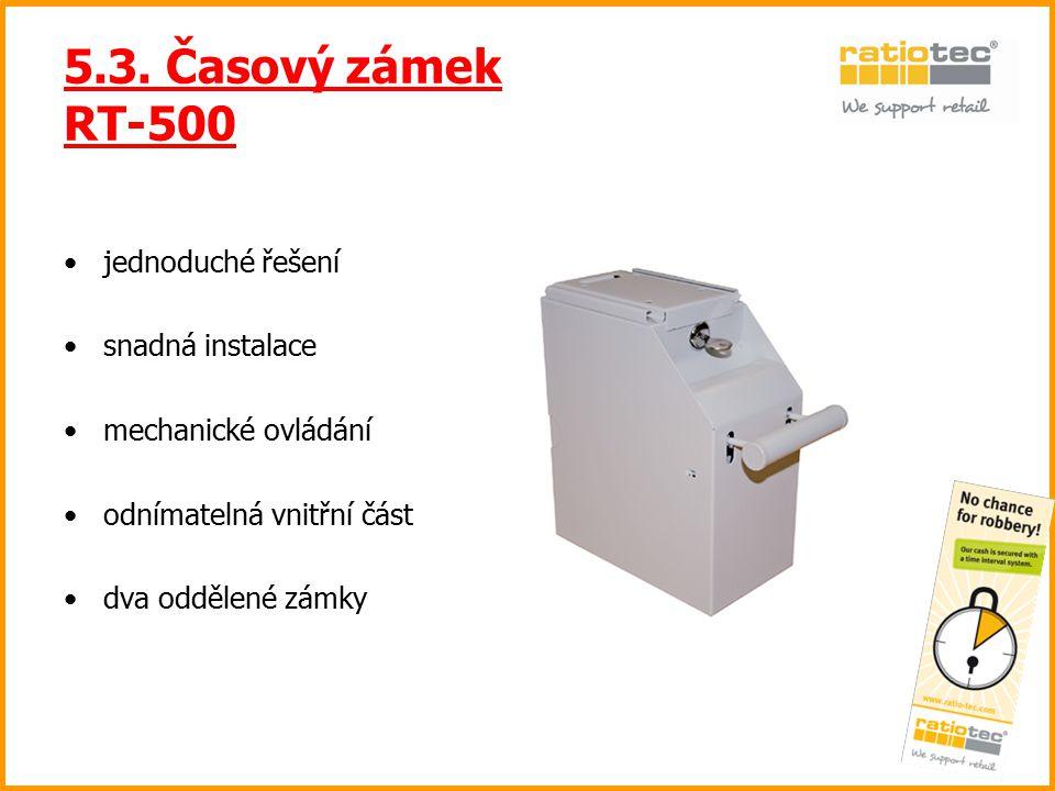5.3. Časový zámek RT-500 jednoduché řešení snadná instalace mechanické ovládání odnímatelná vnitřní část dva oddělené zámky
