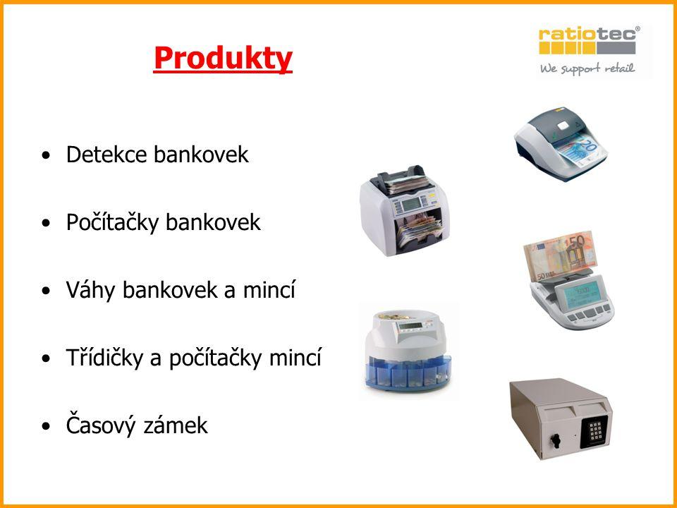 Detekce bankovek Počítačky bankovek Váhy bankovek a mincí Třídičky a počítačky mincí Časový zámek Produkty