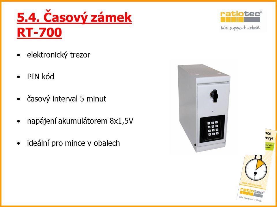 5.4. Časový zámek RT-700 elektronický trezor PIN kód časový interval 5 minut napájení akumulátorem 8x1,5V ideální pro mince v obalech