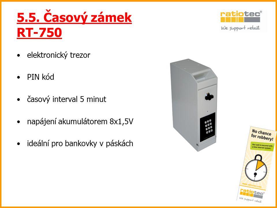 5.5. Časový zámek RT-750 elektronický trezor PIN kód časový interval 5 minut napájení akumulátorem 8x1,5V ideální pro bankovky v páskách
