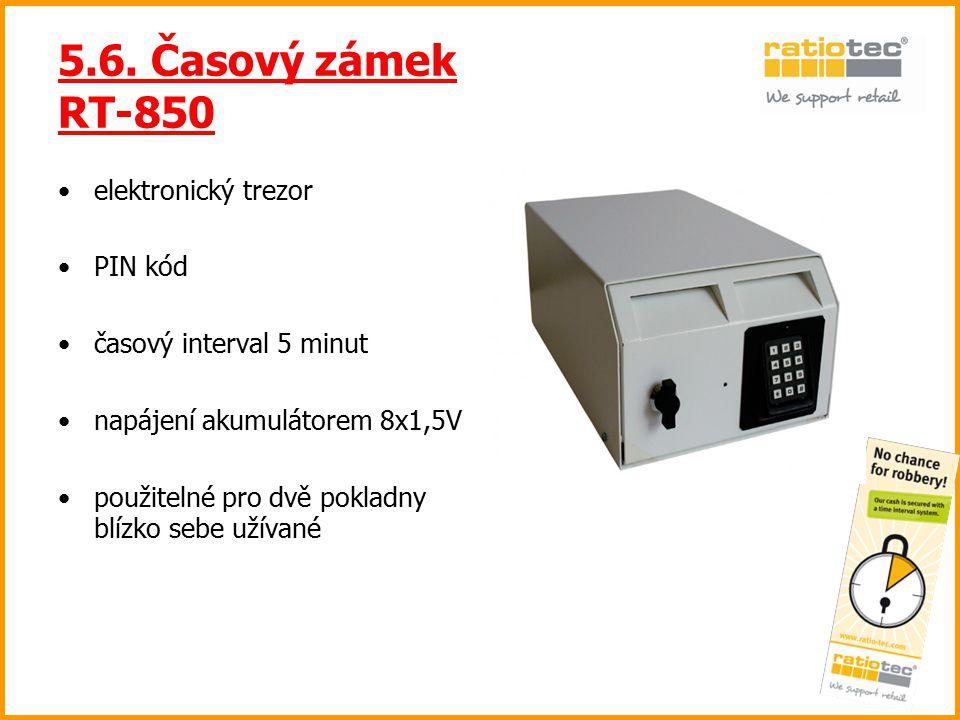 5.6. Časový zámek RT-850 elektronický trezor PIN kód časový interval 5 minut napájení akumulátorem 8x1,5V použitelné pro dvě pokladny blízko sebe užív