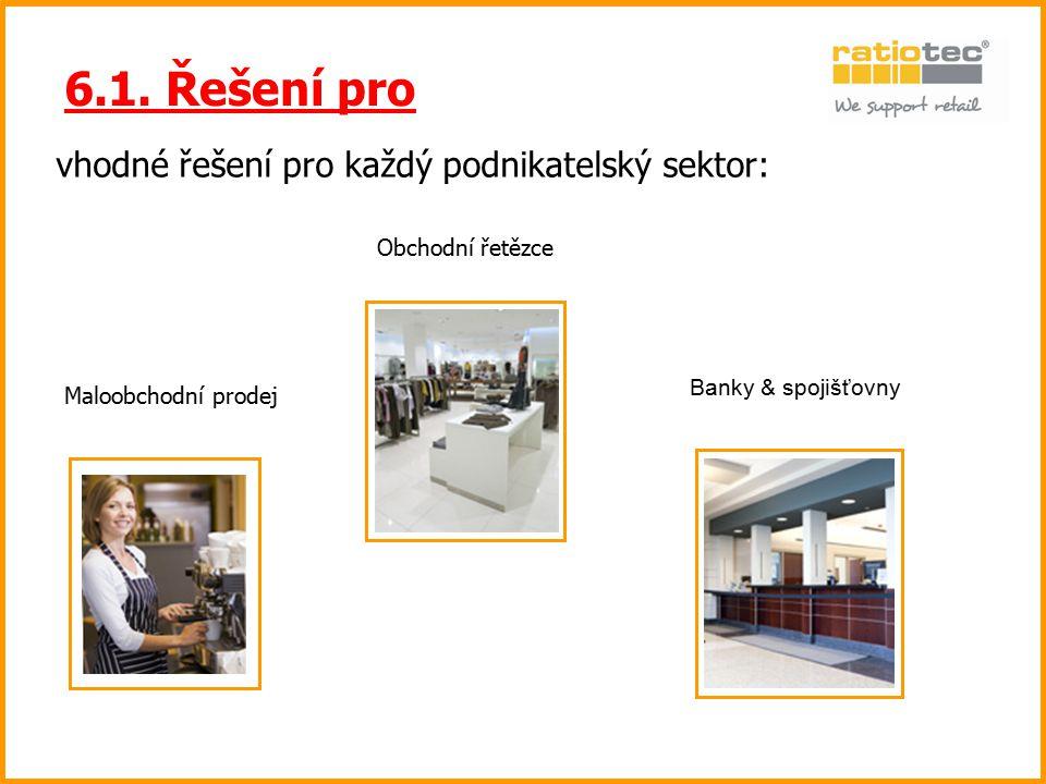 vhodné řešení pro každý podnikatelský sektor: 6.1. Řešení pro Maloobchodní prodej Obchodní řetězce Banky & spojišťovny