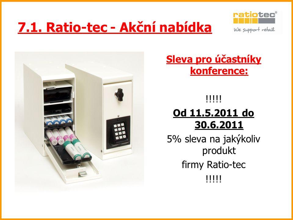 7.1. Ratio-tec - Akční nabídka Sleva pro účastníky konference: !!!!! Od 11.5.2011 do 30.6.2011 5% sleva na jakýkoliv produkt firmy Ratio-tec !!!!!