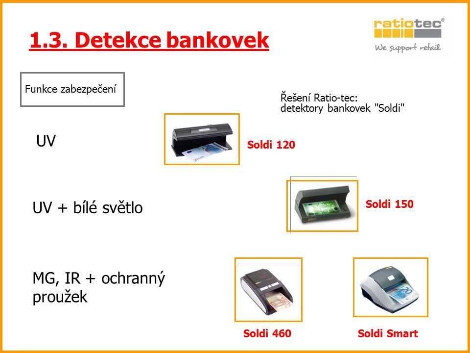 1.3. Detekce bankovek Řešení Ratio-tec: detektory bankovek