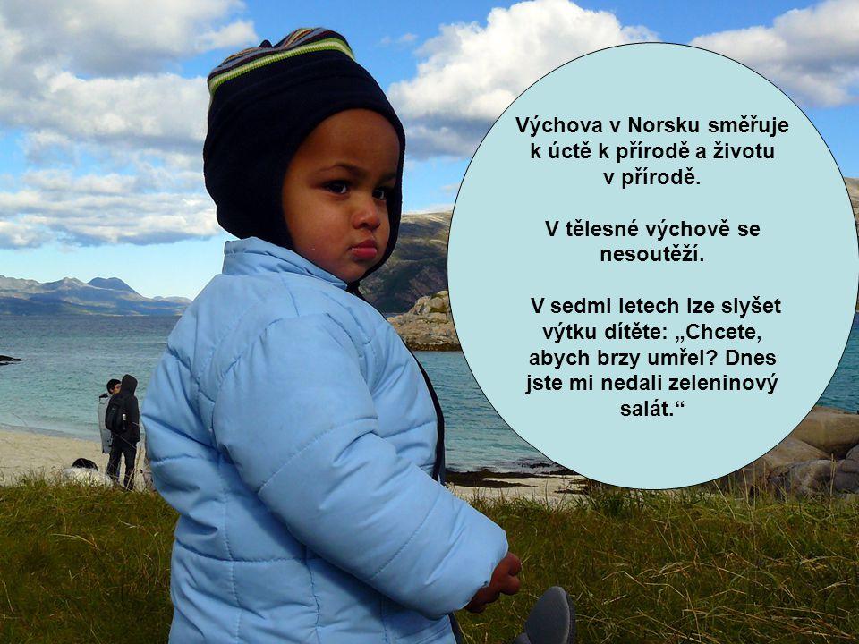 """Výchova v Norsku směřuje k úctě k přírodě a životu v přírodě. V tělesné výchově se nesoutěží. V sedmi letech lze slyšet výtku dítěte: """"Chcete, abych b"""
