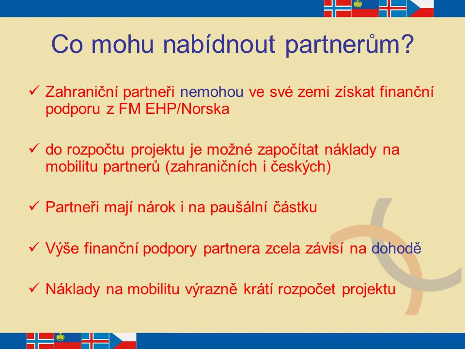 Co mohu nabídnout partnerům? Zahraniční partneři nemohou ve své zemi získat finanční podporu z FM EHP/Norska do rozpočtu projektu je možné započítat n