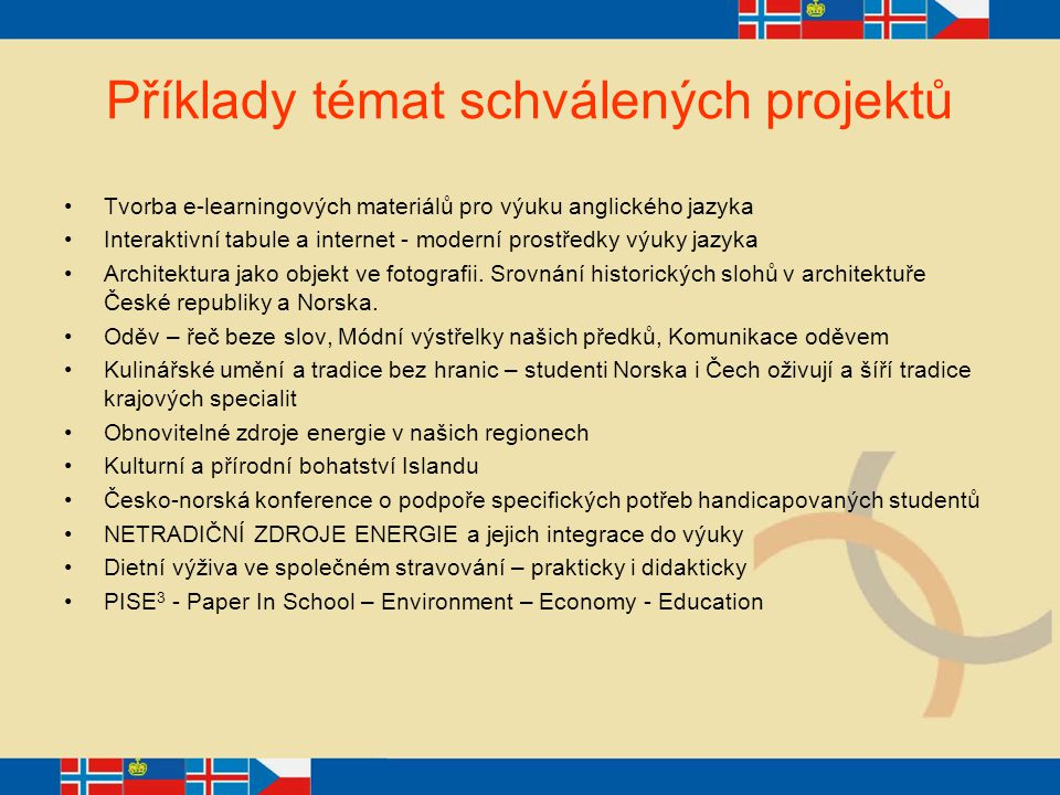 Příklady témat schválených projektů Tvorba e-learningových materiálů pro výuku anglického jazyka Interaktivní tabule a internet - moderní prostředky v