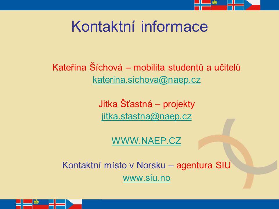 Kontaktní informace Kateřina Šíchová – mobilita studentů a učitelů katerina.sichova@naep.cz Jitka Šťastná – projekty jitka.stastna@naep.cz WWW.NAEP.CZ