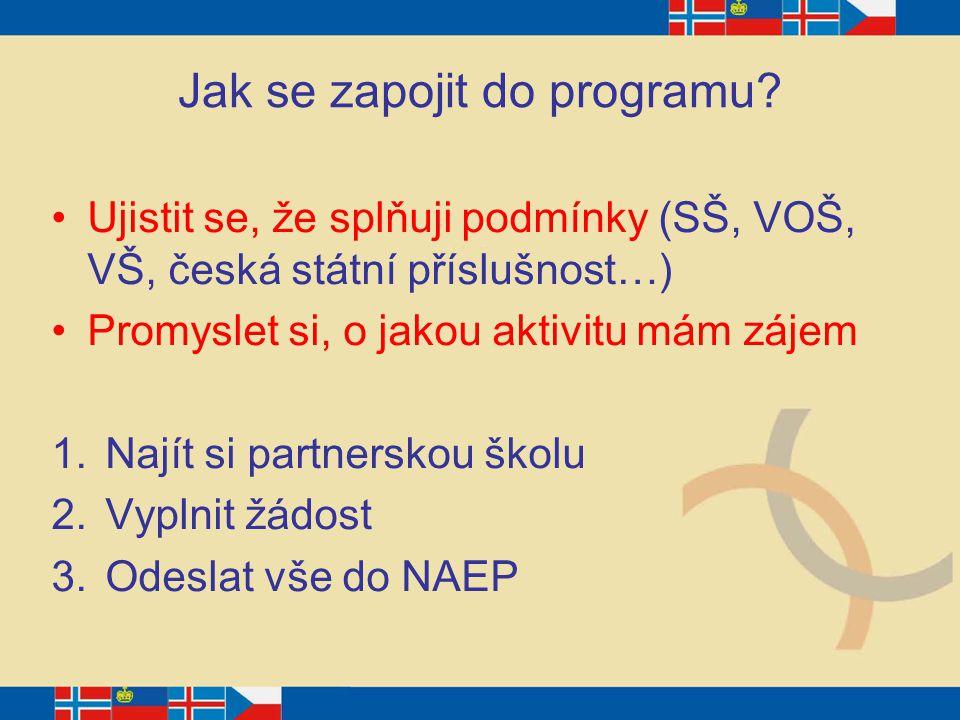 Jak se zapojit do programu? Ujistit se, že splňuji podmínky (SŠ, VOŠ, VŠ, česká státní příslušnost…) Promyslet si, o jakou aktivitu mám zájem 1.Najít