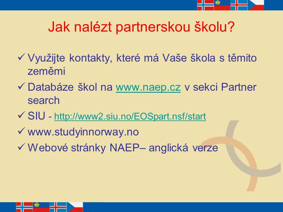 Jak nalézt partnerskou školu? Využijte kontakty, které má Vaše škola s těmito zeměmi Databáze škol na www.naep.cz v sekci Partner searchwww.naep.cz SI