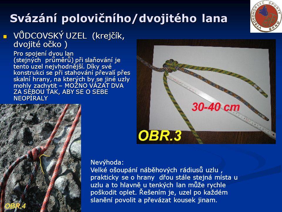 Svázání polovičního/dvojitého lana VŮDCOVSKÝ UZEL (krejčík, dvojité očko ) VŮDCOVSKÝ UZEL (krejčík, dvojité očko ) Pro spojení dvou lan (stejných průměrů) při slaňování je tento uzel nejvhodnější.