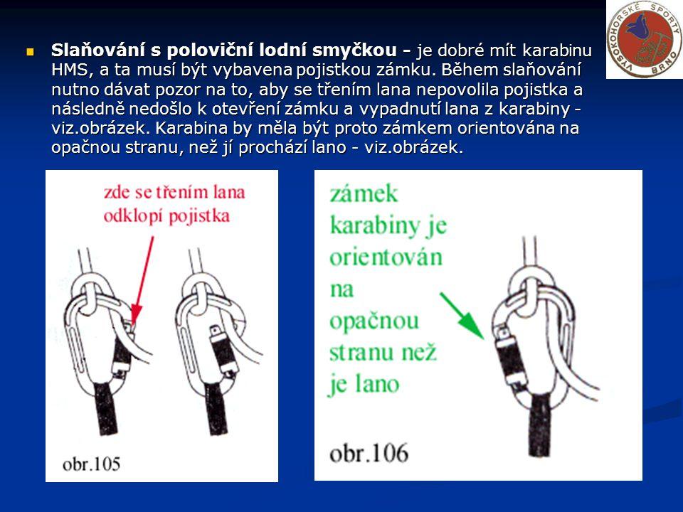 Dračí smyčka s pojistkou (kličkou) : Klidně použijte 6m prusík V Dračí smyčce se udělá klička, podobně jako když zavazujete botu.Vytažením této kličky se Dračka rozpadne a smyce spadne spolu s lanem.