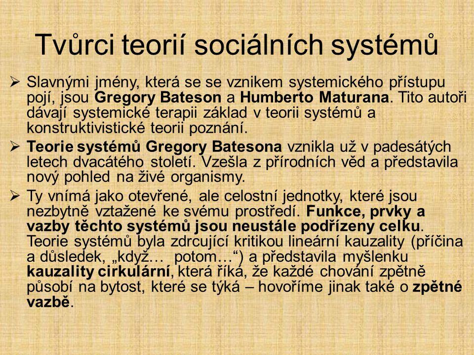 Tvůrci teorií sociálních systémů  Slavnými jmény, která se se vznikem systemického přístupu pojí, jsou Gregory Bateson a Humberto Maturana. Tito auto