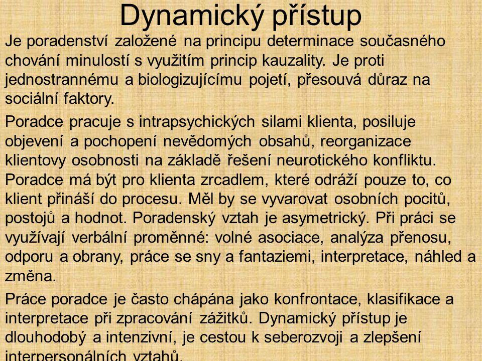 Dynamický přístup Je poradenství založené na principu determinace současného chování minulostí s využitím princip kauzality. Je proti jednostrannému a
