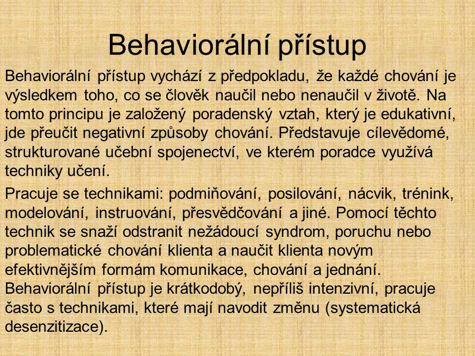 Behaviorální přístup Behaviorální přístup vychází z předpokladu, že každé chování je výsledkem toho, co se člověk naučil nebo nenaučil v životě. Na to