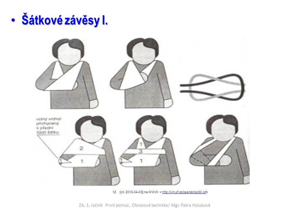 Šátkové závěsy I. Šátkové závěsy I. 12.[cit. 2013-04-03] na WWW: http://vnl.xf.cz/ose/obr/pp30.gif ZA, 1. ročník První pomoc, Obvazová technika/ Mgr.