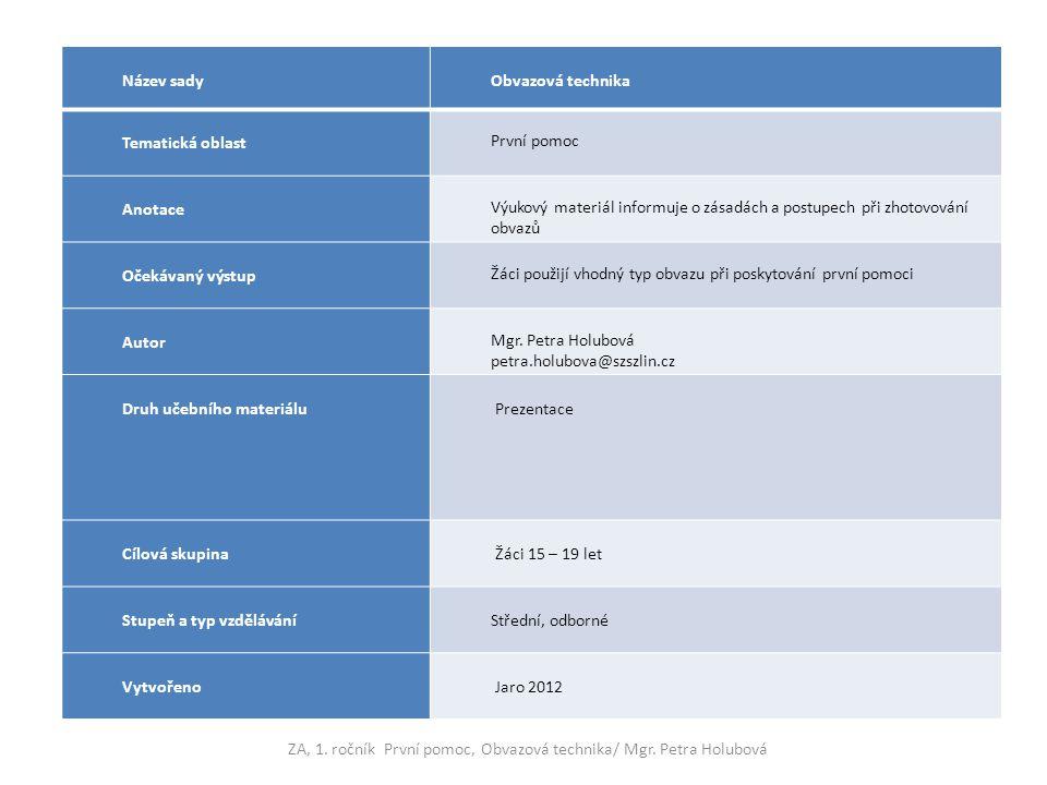 Název sady Obvazová technika Tematická oblast První pomoc Anotace Výukový materiál informuje o zásadách a postupech při zhotovování obvazů Očekávaný v