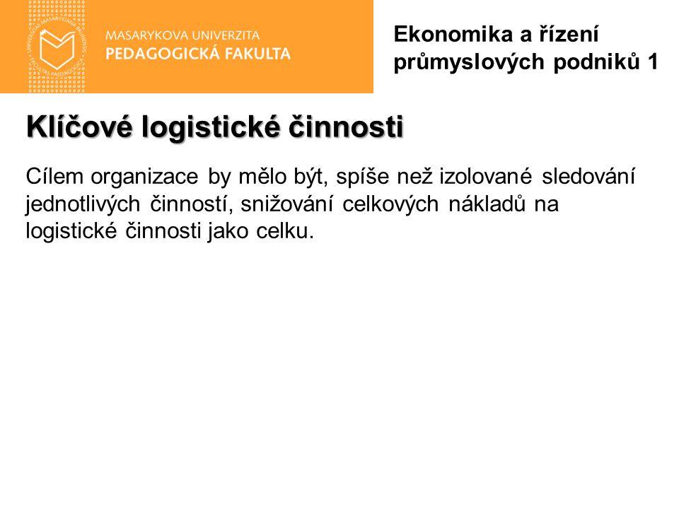 Klíčové logistické činnosti Ekonomika a řízení průmyslových podniků 1 Cílem organizace by mělo být, spíše než izolované sledování jednotlivých činností, snižování celkových nákladů na logistické činnosti jako celku.